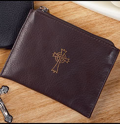 brown leather zipper Rosary case