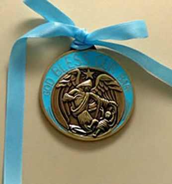 white enamel & bronze engravable personalized Crib Medal baptism gift