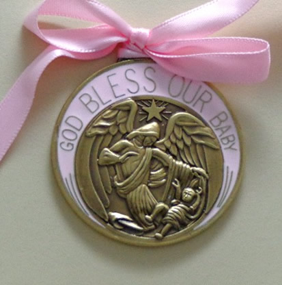 engravable bronze and pink crib medal