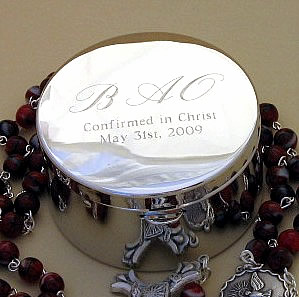 engraved metal Rosary box
