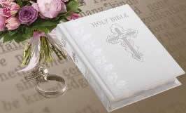 Personalized White Leather Catholic Wedding Bible