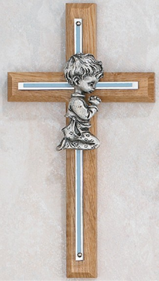Oak and Silver Overlay Praying Boy Baptism Cross