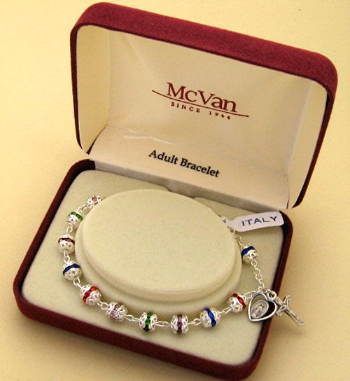 boxed crystal bead Christmas Rosary bracelet