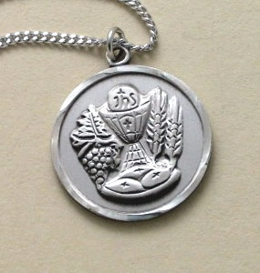 sterling silver First Holy Communion medal