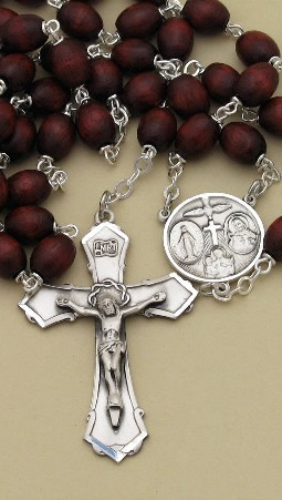 Custom Men's Brown Wood Bead and Silver Rosary