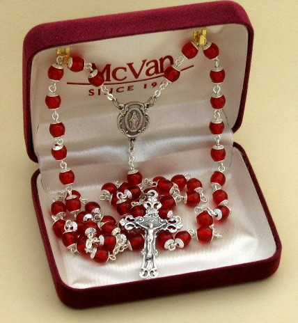 Red Glass Rosary, boxed