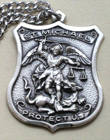 Catholic jewelry and rosary personalized bible silver cross sterling silver st michael policemans medal aloadofball Choice Image