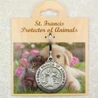 St. Francis Pewter Pet medal - dog and cat tags - engravable
