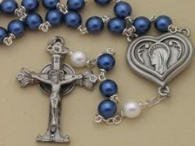 Blue Glass pearl Lourdes water Rosary