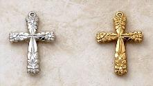 Delicate Cross Pendant by Creed in Sterling Silver and 22KT Gold over Silver