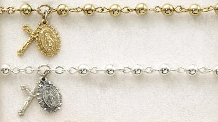 Gold and Sterling Silver First Communion Bracelets
