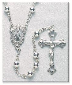 All Sterling Silver Rosary with Miraculous Medal Center