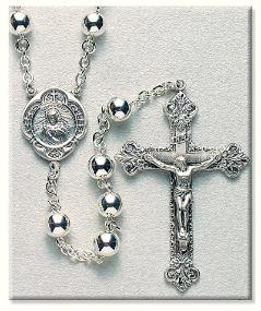 All Sterling Silver Rosary with 7mm Beads