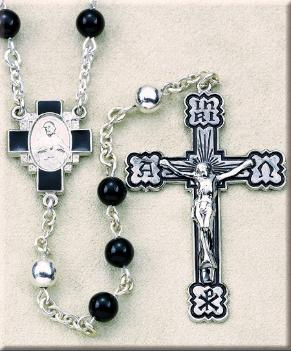 6mm Onyx and Sterling Silver Rosary