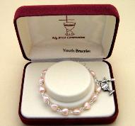 Image of Catholic Pink Heart First Communion Bracelet jewelry