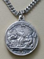 Reverse image of Sterling Silver Saint Francis medal