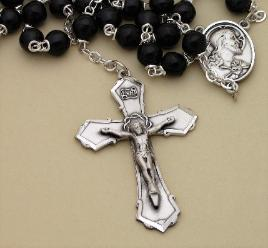 Black Cocoa Bead Custom Men's Rosary