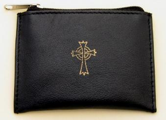 Black Leather Rosary Case With zipper top