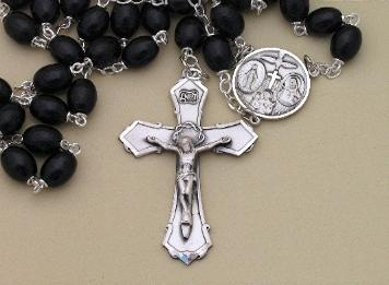 Image of Black Wood Bead & Sterling Silver Rosary