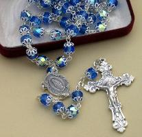 Image of Blue Capped Bead Crystal Rosary