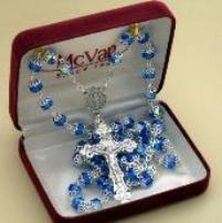 Blue Capped Crystal Rosary as part of Gift set.