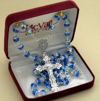 Image of Capped Blue Crystal Rosary beads in Gift Box