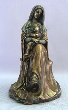 Bronzed Madonna and Child - Virgin Mary Statue - seated