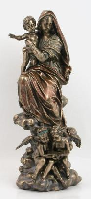 Bronzed Madonna and Child with Angels Statue