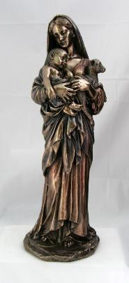 Bronzed Madonna and Child with Lamb - Virgin Mary Statue