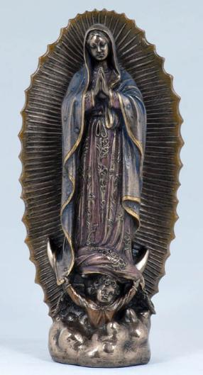 Bronzed Our Lady of Guadalupe - Virgin Mary Statue