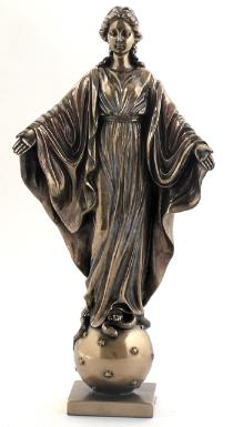 Bronzed Our Lady of Smiles Virgin Mary Statue