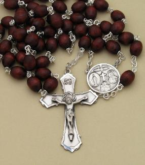 Image of Brown Wood Bead and Sterling Silver Rosary