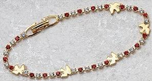Red, Crystal & Dove Confirmation Bracelet