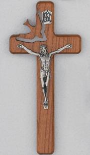 Wood Confirmation Crucifix with descending dove
