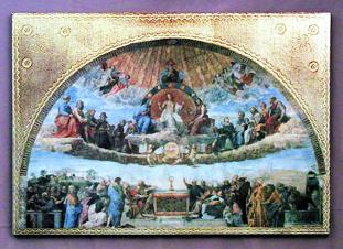 Disputation over the Eucharist by Raphael Florentine Plaque - Roman Catholic Art and Home Decor Page