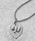 Engravable Holy Spirit Dove and Heart Confirmation necklace