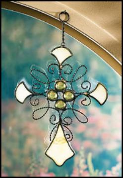 Metal & Stone Stained Glass Cross
