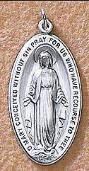 Miraculous Medal Sterling Silver - Men's large