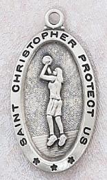 Sterling Silver Saint Christopher Girl's Basketball Medal