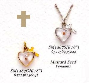 Image of Heart Shaped Mustard Seed Necklace & Cross Charm