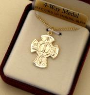 Image of Gold over sterling Silver 4-way medal