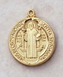 Gold over Sterling Silver St. Benedict Medal