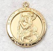 Gold over Sterling Silver Saint Christopher Medal necklace with engravable medallion