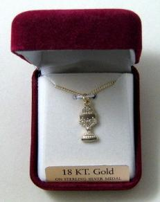 Gold over Sterling Silver First Communion Medal with Chalice shape