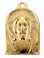 Gold over Sterling Silver Head of Christ medal with renaissance face of Jesus