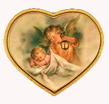 Guardian Angel with Lantern over Infant Florentine Religious Plaque