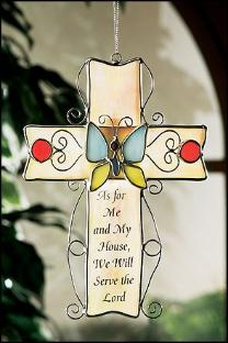 As for me and my house stained glass cross - Catholic Art and Home Decor items page.