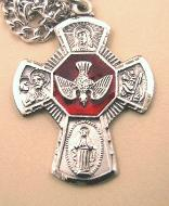 Sterling Silver and Enamel 5-Way medal as confirmation gift
