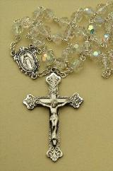 Image of clear tin cut Bohemian Crystal Rosary Beads