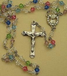 Image of Sterling Silver and Swarovski Crystal Rosary Beads